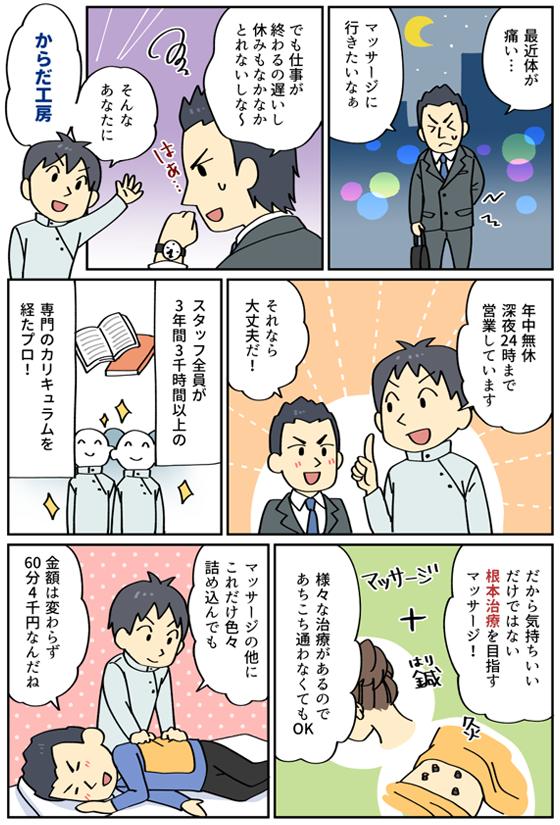 漫画で紹介、広島のマッサージ からだ工房